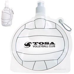 Custom imprinted HydroPouch! Volley Ball Collapsible Water Bottle