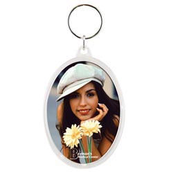 Custom imprinted Snap-In Oval Keytag