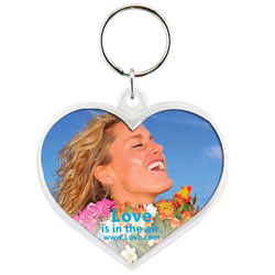 Custom imprinted Snap-In Heart Keytag