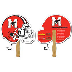 Custom imprinted Sport Hand Fan - 10 x 8.5 Football Helmet Shape