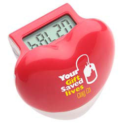 Custom imprinted Healthy Heart Step Pedometer