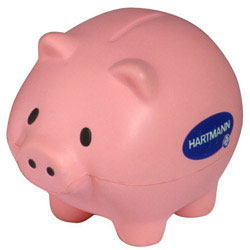 Custom imprinted Thrifty Pig Stress Reliever
