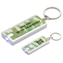 Custom imprinted Simple Touch LED Keychain in Camouflage