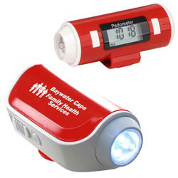 Custom imprinted Flashlight and Siren Pedometer
