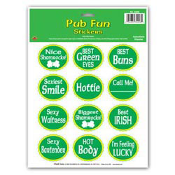 Custom imprinted St. Patrick Pub Fun Stickers
