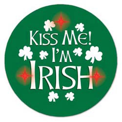 Custom imprinted Flashing Kiss Me! I'm Irish Button