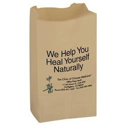 Custom imprinted Natural Kraft Grocery Bag