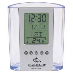 Custom imprinted Clear Pen Cup w/ Digital Alarm Clock & Thermometer