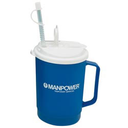 Custom imprinted 22 oz. Flip Sip Mug with Lid & Straw