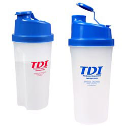 Custom imprinted 20 oz. Plastic Fitness Shaker with Measurements