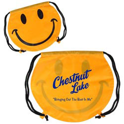 Custom imprinted Smiley Face Drawstring Backpack