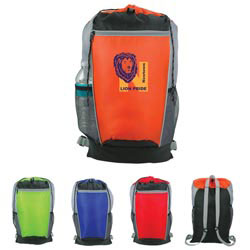 Custom imprinted Tri-Color Drawstring Backpack