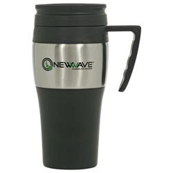Custom imprinted 14 oz Steel/Plastic Travel Mug
