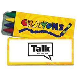 Custom imprinted 4 Pack Crayons - Yellow
