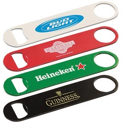 Custom imprinted Paddle Style Powder Coated Steel Bottle Opener