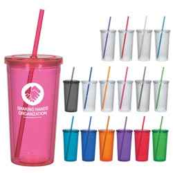 Custom imprinted 24 Oz. Double Wall Acrylic Tumbler With Straw