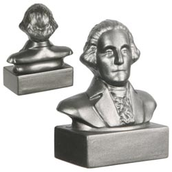 Custom imprinted George Washington Bust Stress Reliever