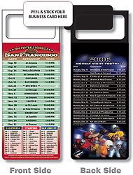 Custom imprinted Magnetic NFL Football Schedule San Francisco 49ers
