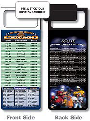 Custom imprinted Magnetic NFL Football Schedule - Chicago Bears