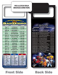 Custom imprinted Magnetic NFL Football Schedule San Diego Chargers
