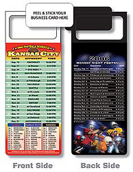 Custom imprinted Magnetic NFL Football Schedule Kansas City Chiefs