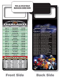 Custom imprinted Magnetic NFL Football Schedule Oakland / 49ers