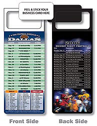 Custom imprinted Magnetic NFL Football Schedule - Dallas Cowboys
