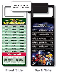 Custom imprinted Magnetic NFL Football Schedule Green Bay Packers