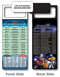 Custom imprinted Magnetic NFL Football Schedule Carolina Panthers